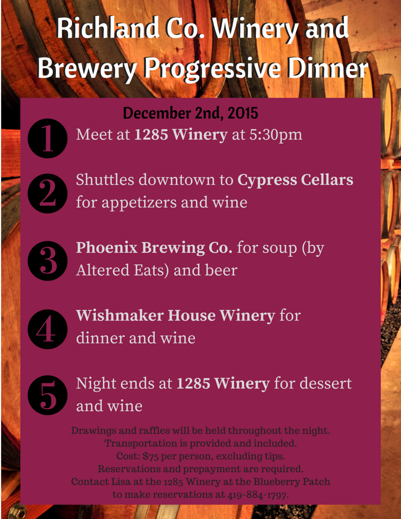 Richland Co. Winery and Brewery Progressive Dinner